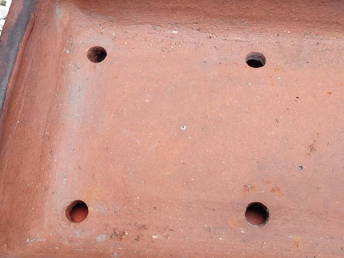 盆栽鉢 平型 植木鉢 長方形 修復歴あり 幅約515㎜ 奥行約265㎜ 高さ約80㎜ 盆栽用具 【2595】_画像6