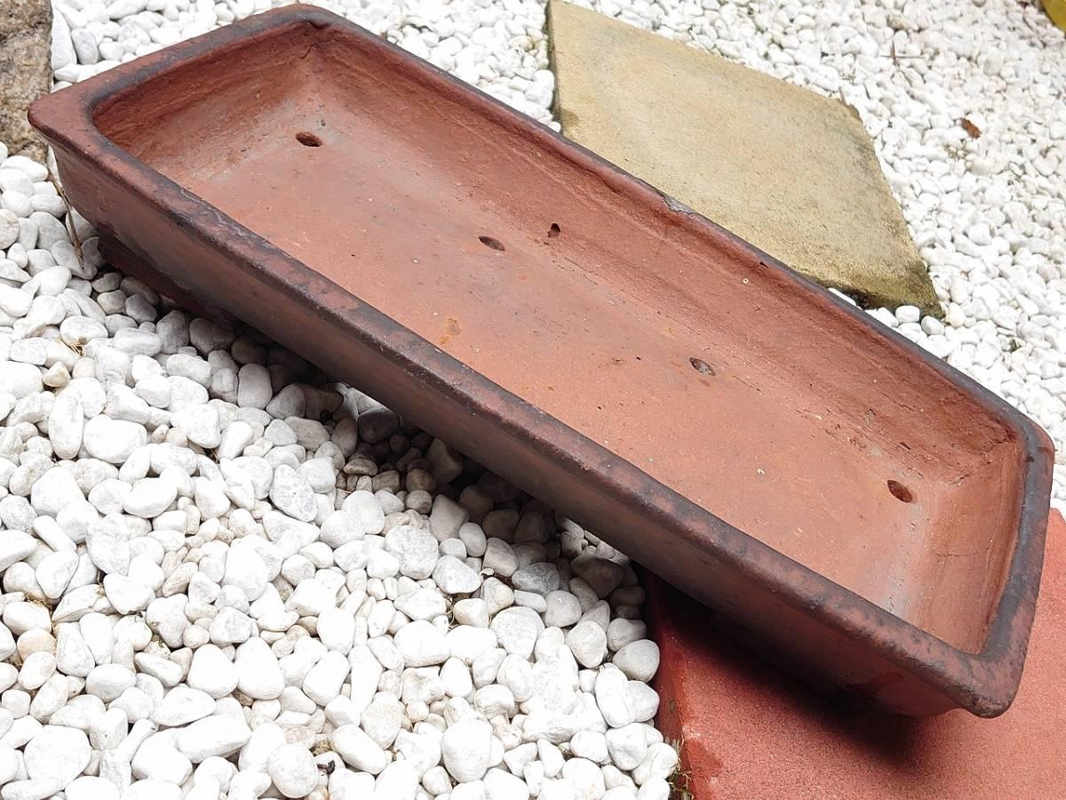 盆栽鉢 平型 植木鉢 長方形 修復歴あり 幅約515㎜ 奥行約265㎜ 高さ約80㎜ 盆栽用具 【2595】_画像8