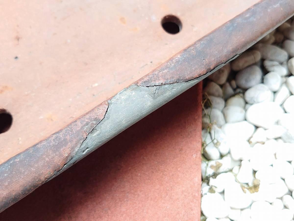 盆栽鉢 平型 植木鉢 長方形 修復歴あり 幅約515㎜ 奥行約265㎜ 高さ約80㎜ 盆栽用具 【2595】_画像3