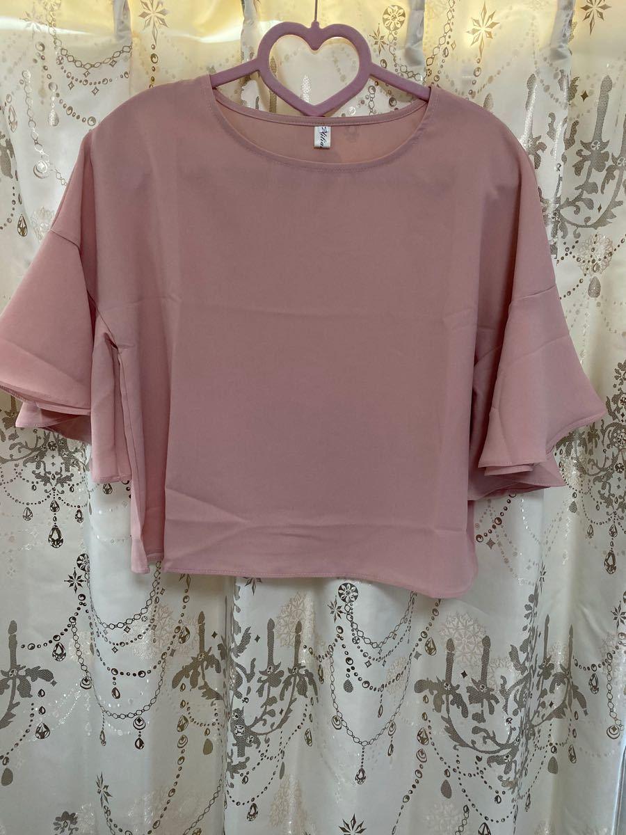 ピンク ブラウス シャツ 半袖 七分