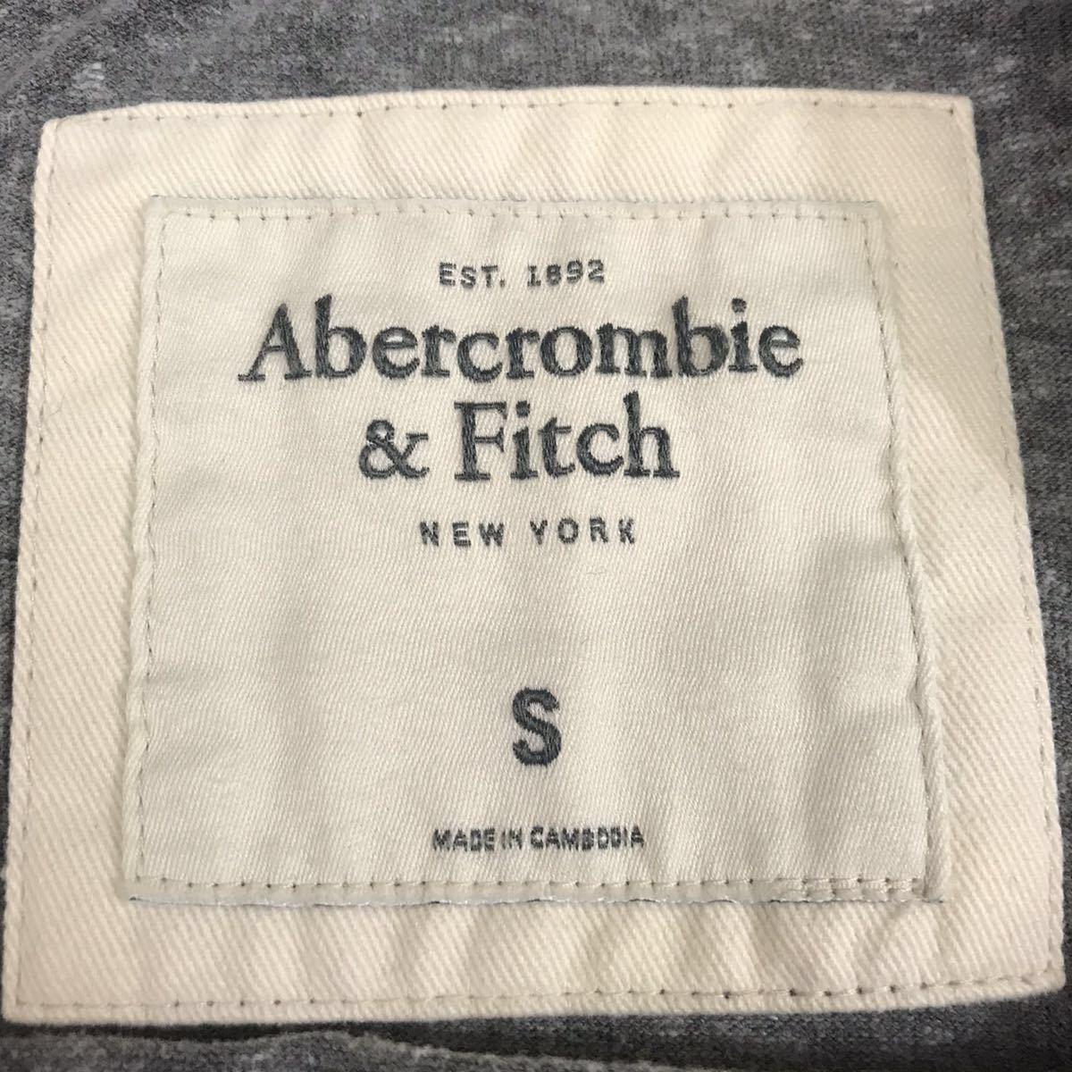 Abercrombie&Fitch アバクロンビー&フィッチ Tシャツ 半袖シャツ 霜降り ロゴ刺繍 丸首 グレー ブルー メンズ Sサイズ ♭□ ∞