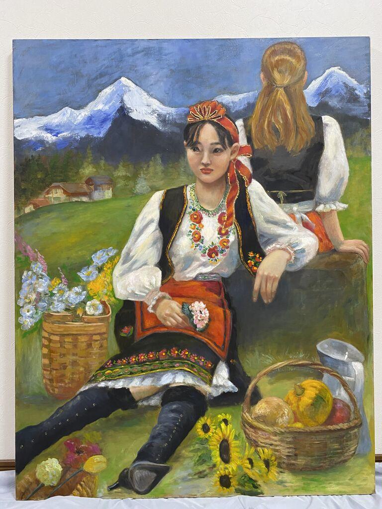 原画 オリジナル直筆油絵 「アルプスの少女たち」  F50サイズ 真作 肉筆 直筆_画像8