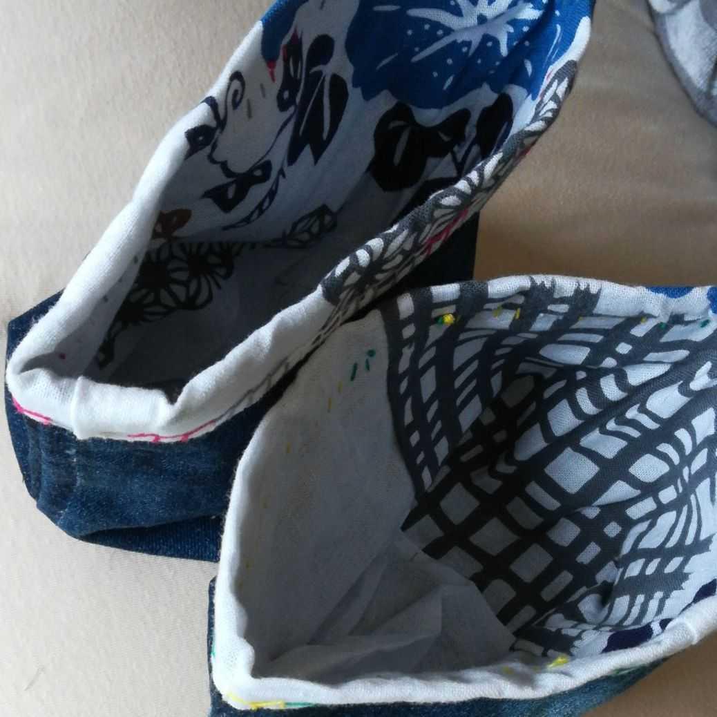 デニムリメイク 鉢カバー 小物入れ ハンドメイド 2個 手ぬぐい 布バスケット ファブリックバスケット