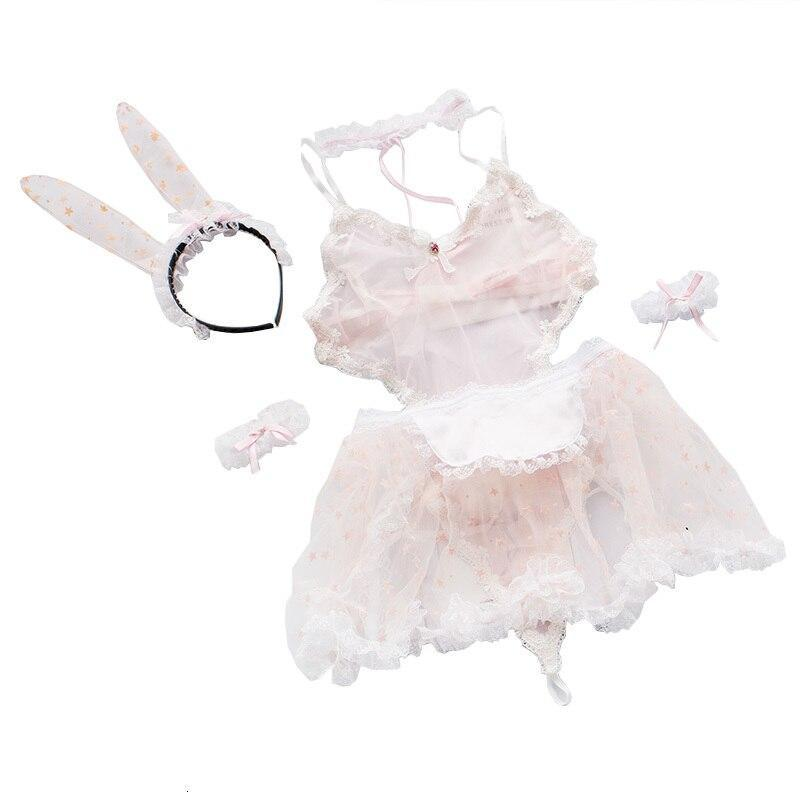 アニメメイドコスプレ衣装セクシーエロチックランジェリーファンシージャンプスーツベビードールプリントレースウサギ Q029_画像5