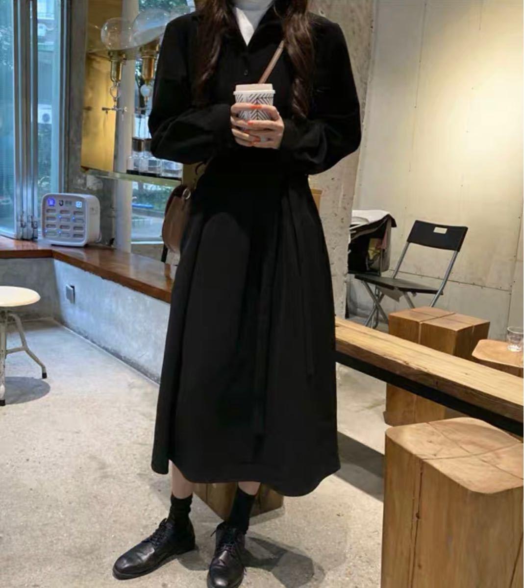 シャツワンピース オーバーサイズ 抜き襟 ロング シャツワンピ ブラック