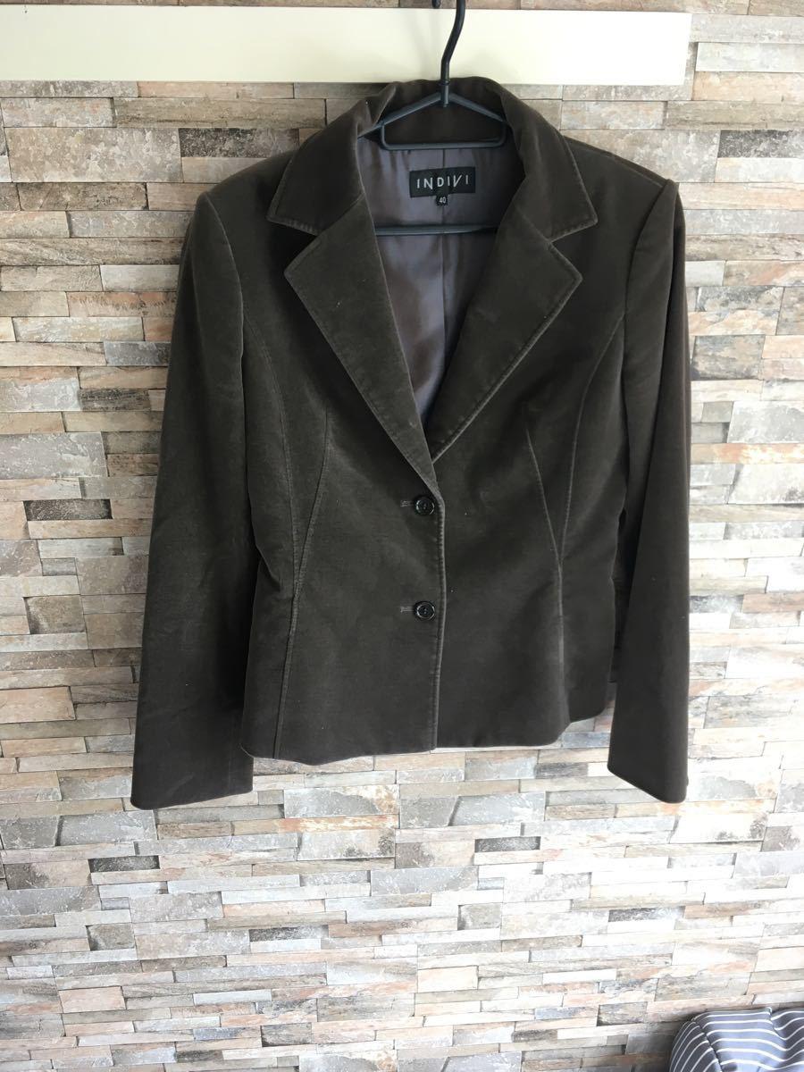 ジャケット インディヴィ  ブラウン 40 Lサイズ テーラードジャケット