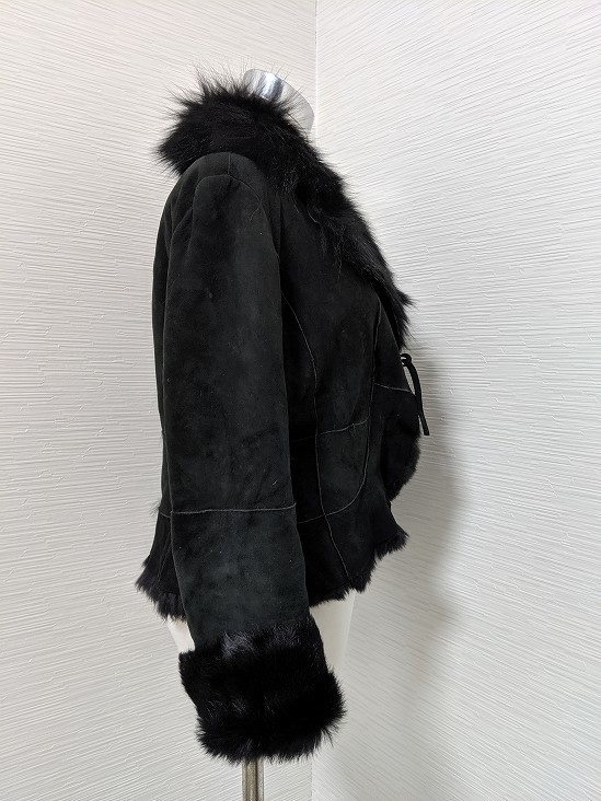 【送料無料】あ633 ブルーフォックス ラビットムートン 毛皮 リアルファー ブルゾン コート ジャケット ファーコート 軽い