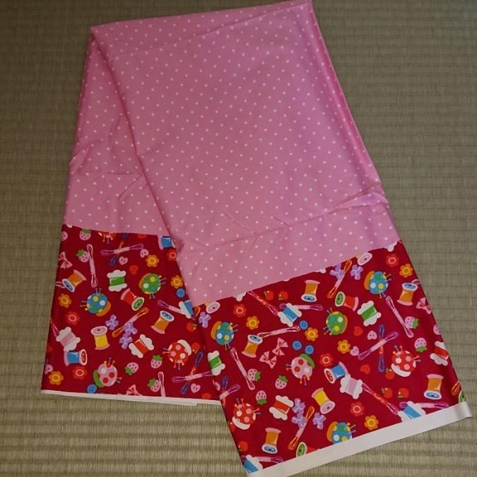布 生地 ハギレ ピンク 赤系  水玉×裁縫道具柄 オックス