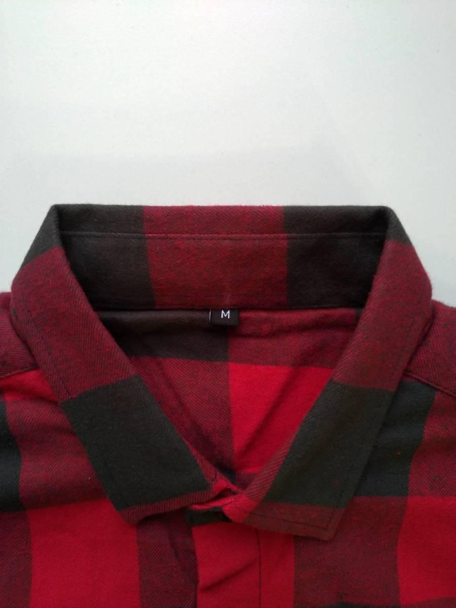 【シャツ】メンズ チェックシャツ 長袖 ブラウス Mサイズ カジュアル 赤 黒 男性 レッド ブラック 送料無料 秋 冬 おしゃれ 定番