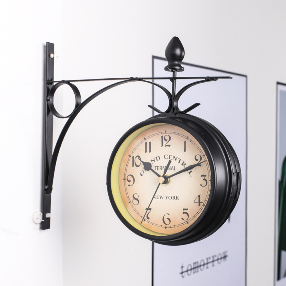 ◆1円スタート◆素敵な空間!両面 壁掛け時計 壁時計 アンティーク ヨーロピアン リビング 廊下 ヴィンテージ クロック モダン AT9370 _画像2