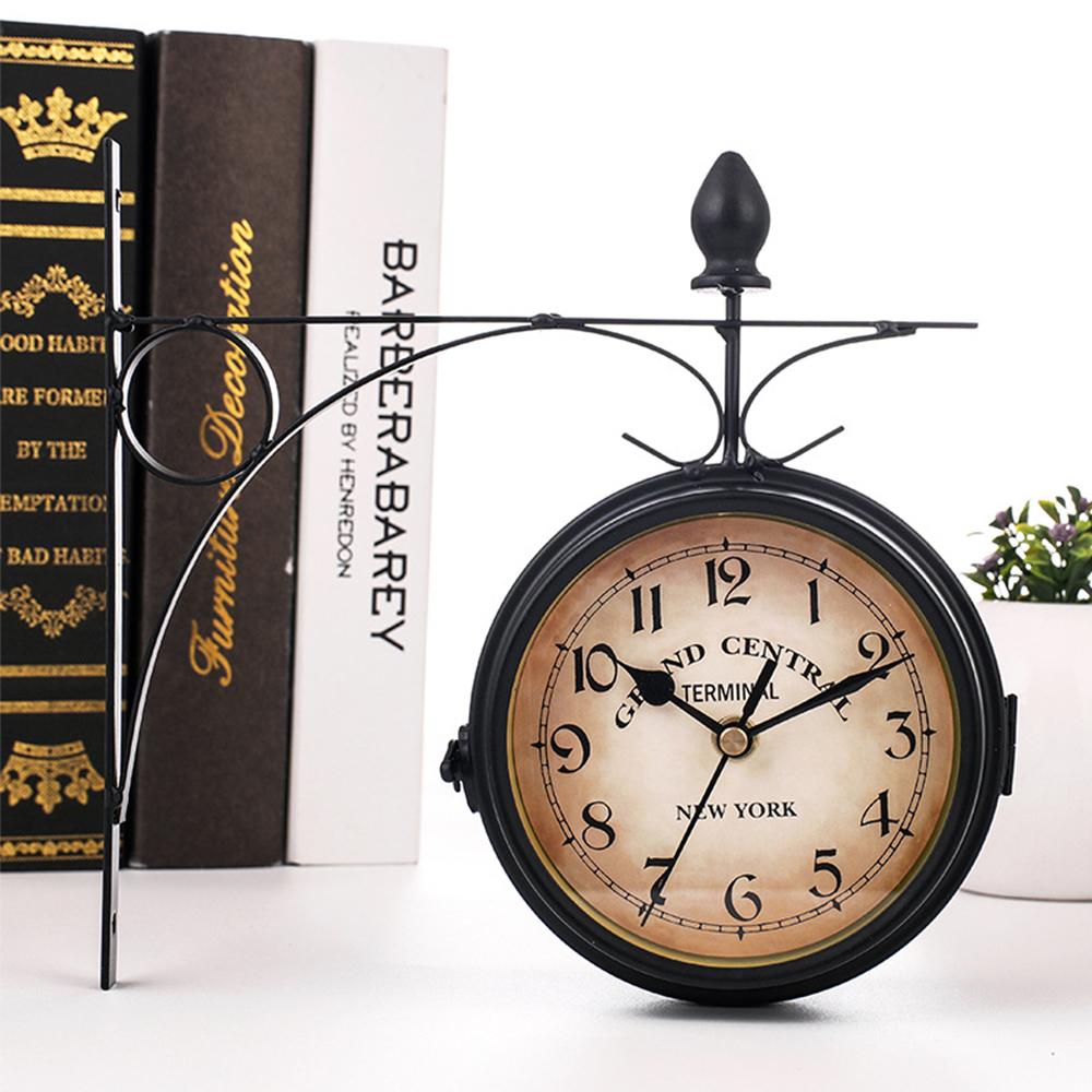 ◆1円スタート◆素敵な空間!両面 壁掛け時計 壁時計 アンティーク ヨーロピアン リビング 廊下 ヴィンテージ クロック モダン AT9370 _画像1