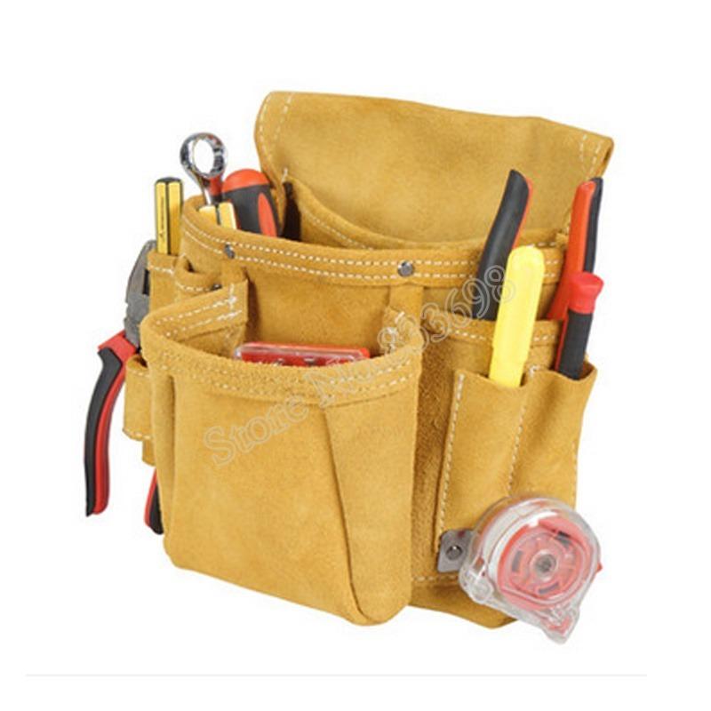 ◆最安にします◆ 工具腰袋 ウエストツールバッグ 工具差し 収納 道具袋 大容量 大工ツールバッグ 工具入れ DIY 道具箱 牛革 AT9317_画像3