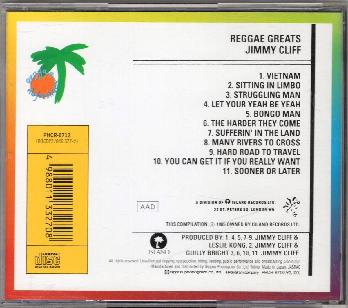 Jimmy Cliff ベスト 国内CD「Reggae Greats」ジミー・クリフ The Harder They Come / Many Rivers to Cross / Sitting in Limbo 他_画像2