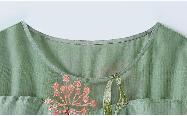 ドレス ロングドレス ワンピース マキシ丈 花柄 小花柄 シースルー シアーワンピ シアー袖 透け感 刺繍 美脚効果 グリーンレディース