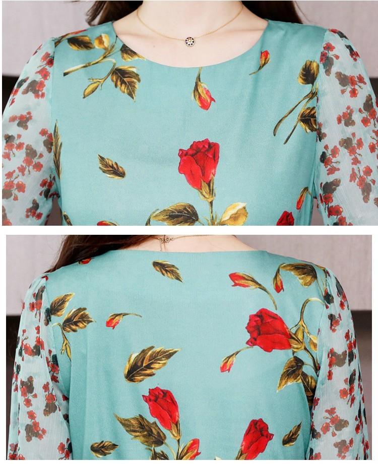 ワンピース ティアード 七分袖 丸首 花柄 総柄 エレガント 透け感 シースルー 華やか フリル 大人可愛い グリーン レッドシンプル