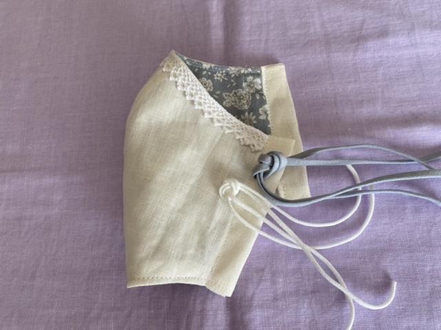 ハンドメイド 手作り 内ポケット付 立体インナーマスクカバー 100%フレンチリネン 白 裏地もお洒落(ブルーグレー花柄)_画像1