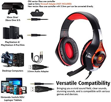 赤 BlueFire PS4 ヘッドセット ゲーミングヘッドセット 重低音 Xbox one ゲーミングヘッドホ ボリュームコ_画像3