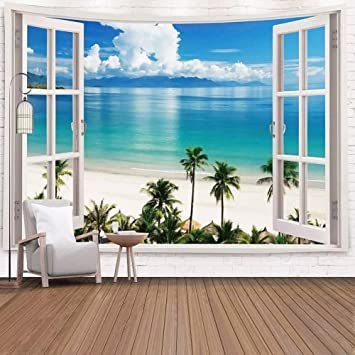 Today only ♪ Window and Beach Jachon Hawaii Beach Coconut Palm Tree Wall Tapestry Natural Landscape Scene