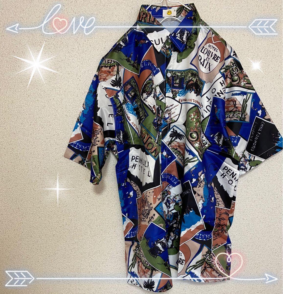 シャツ 総柄【新品】 半袖 柄シャツ アロハシャツ 男女兼用 カジュアル