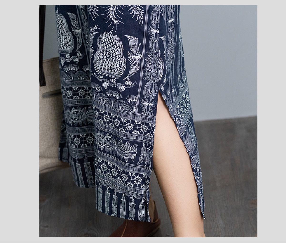 ワンピース【人気】マキシワンピース シノワズリ 体型カバー チャイナドレス 長袖