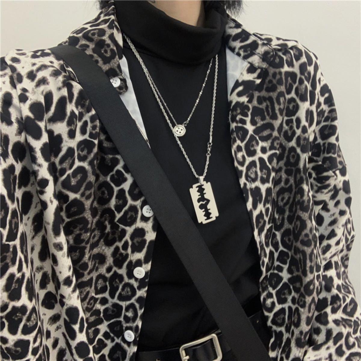 ヒョウ柄【新品】【美品】 モード系 長袖 柄シャツ アニマル 男女兼用