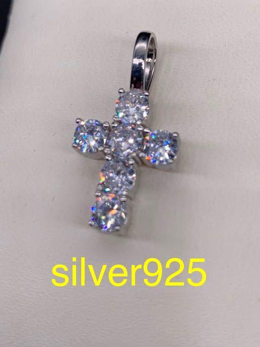 大粒 ジルコニア スターリングシルバー silver925 クロス ネックレス_画像1