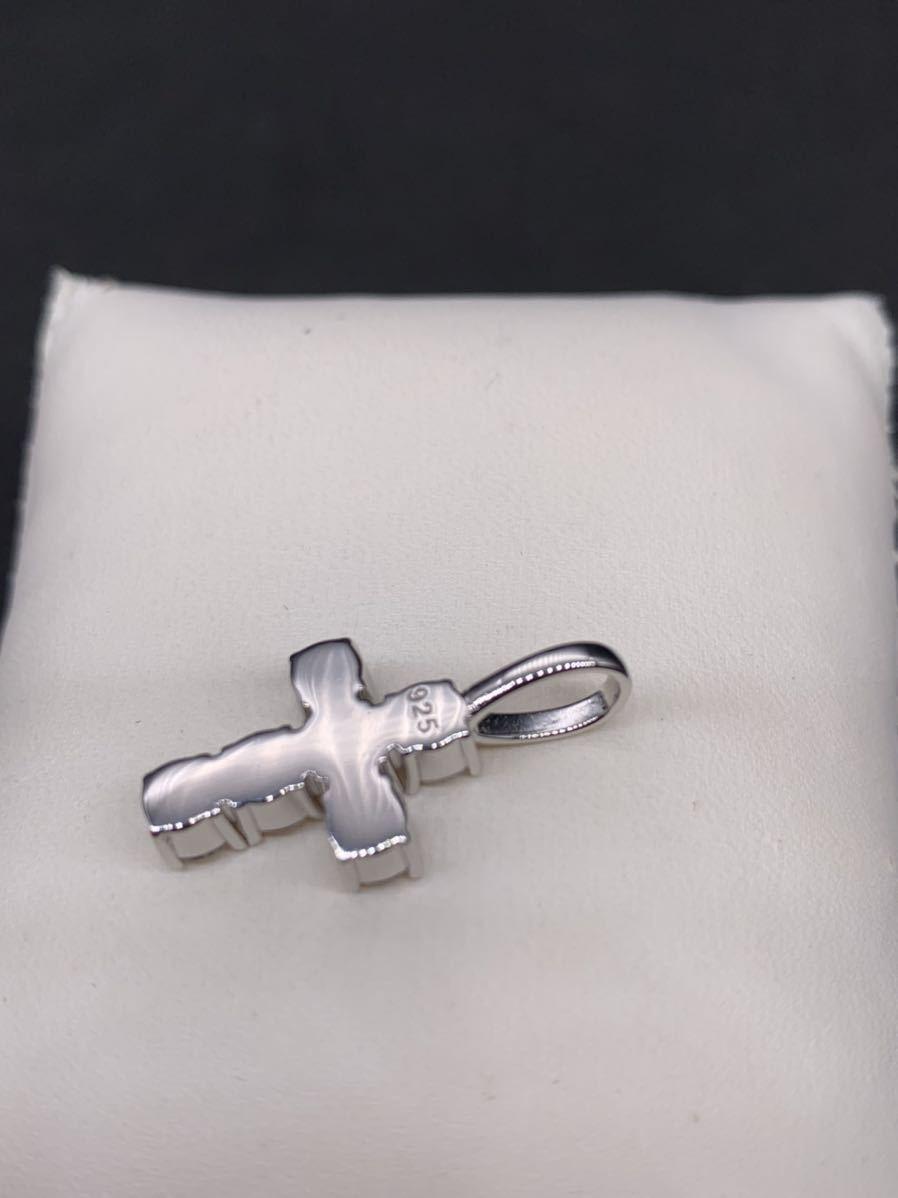 大粒 ジルコニア スターリングシルバー silver925 クロス ネックレス_画像2