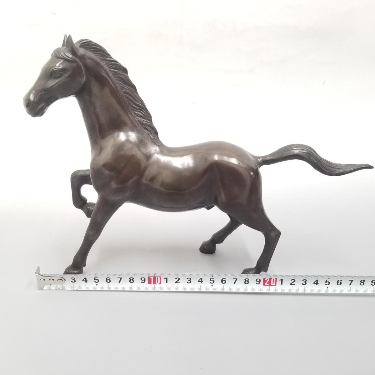 ●③ 青銅製 置物 馬 うま 宏作 中古_画像9