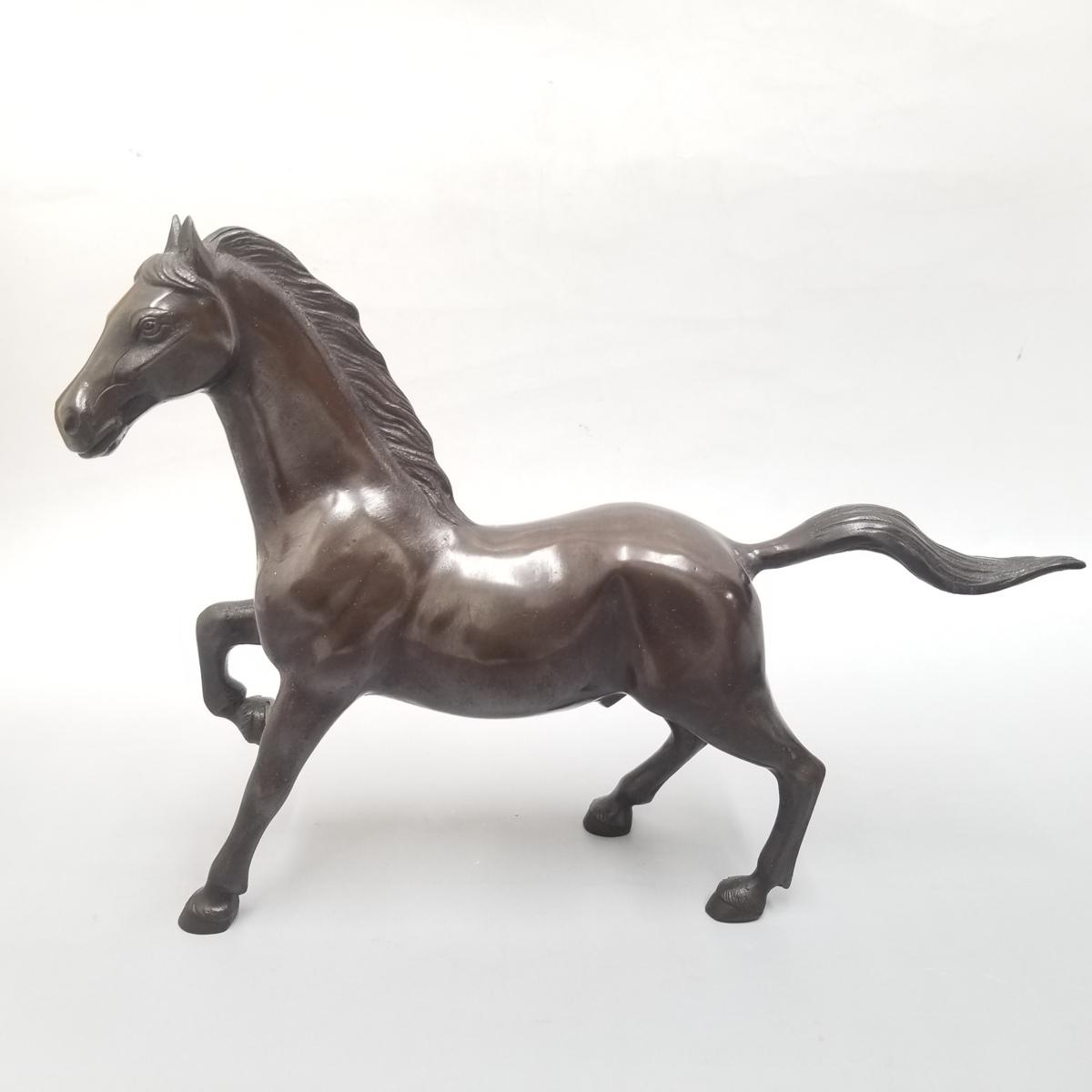 ●③ 青銅製 置物 馬 うま 宏作 中古_画像2