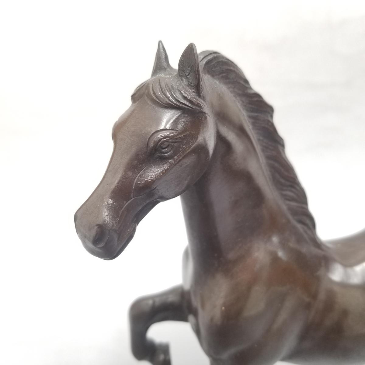 ●③ 青銅製 置物 馬 うま 宏作 中古_画像6