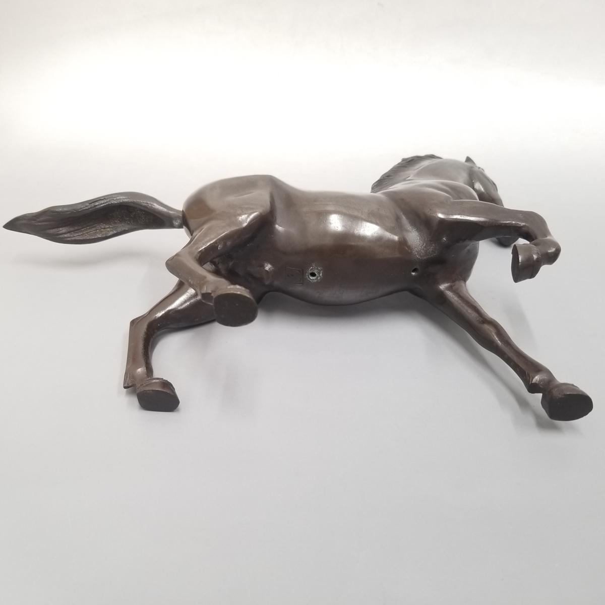 ●③ 青銅製 置物 馬 うま 宏作 中古_画像3
