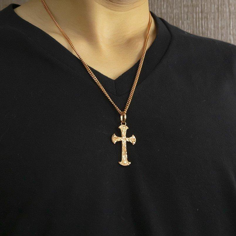 ネックレス メンズ ハワイアンジュエリー 喜平用 クロス ペンダントトップ ゴールド 10K ピンクゴールドk10 シンプル 十字架 チェーン_画像6