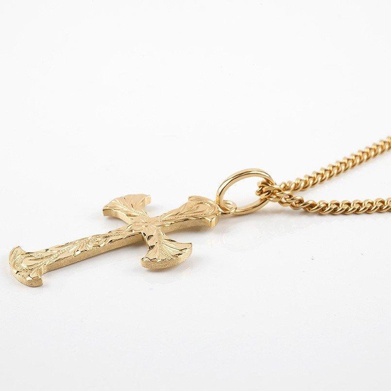 ネックレス メンズ ハワイアンジュエリー 喜平用 クロス ペンダントトップ ゴールド 10K ピンクゴールドk10 シンプル 十字架 チェーン_画像2