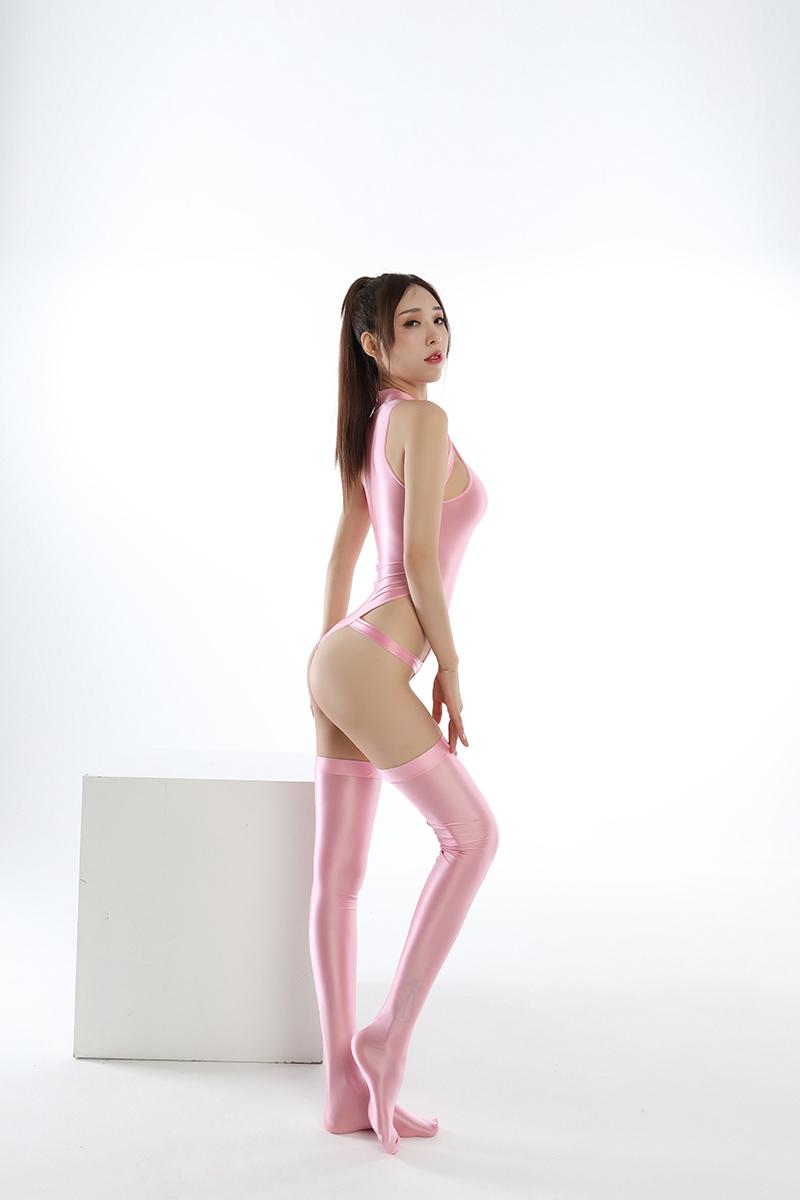 水着上下セット コスプレ衣装 ハイレグレオタード レースクイーンレオタード ピンク フリーサイズ_画像3