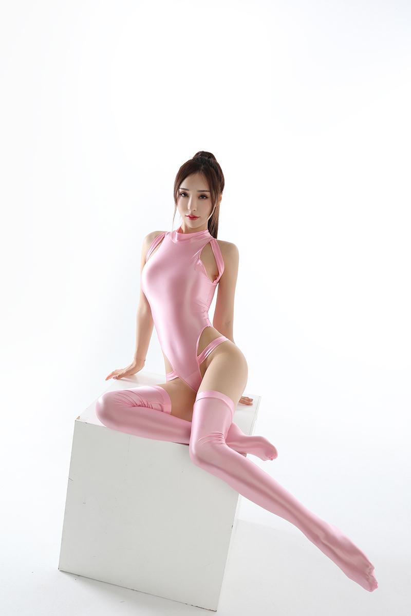 水着上下セット コスプレ衣装 ハイレグレオタード レースクイーンレオタード ピンク フリーサイズ_画像10