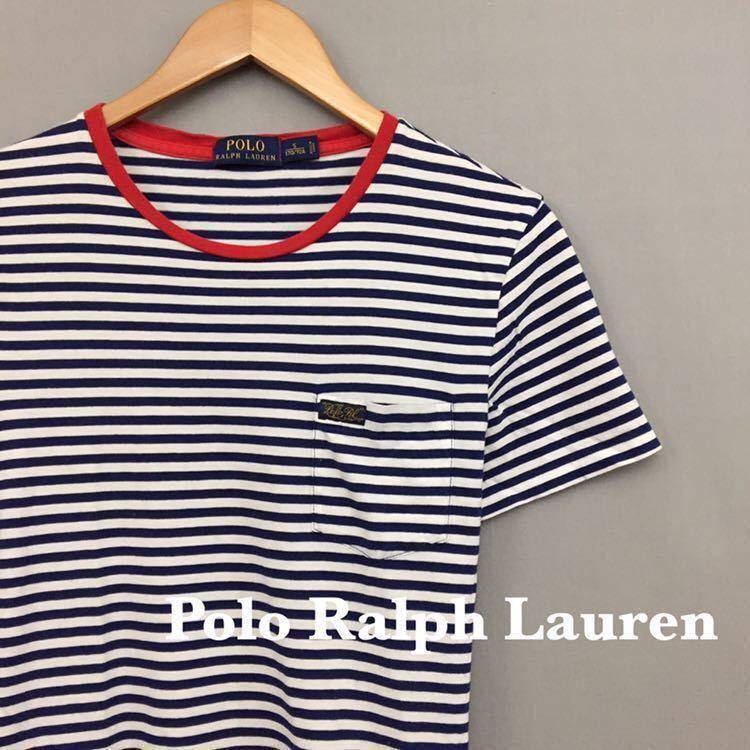 ポロラルフローレン Polo Ralph Lauren 半袖 Tシャツ 丸首 ボーダー 胸ポケット ブルー ホワイト メンズ 男性用 Sサイズ ♭□∞