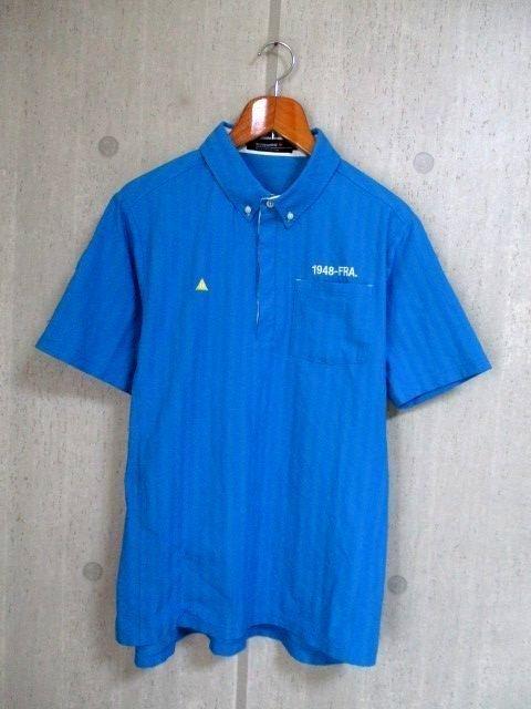 b988 le coq GOLF ルコックゴルフ 半袖ポロシャツ サイズL 水色系 25-8_画像1