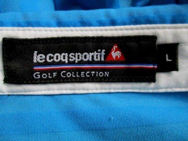 b988 le coq GOLF ルコックゴルフ 半袖ポロシャツ サイズL 水色系 25-8_画像6