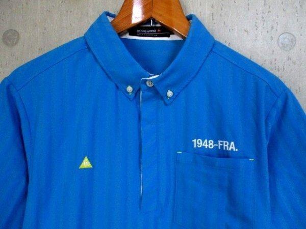 b988 le coq GOLF ルコックゴルフ 半袖ポロシャツ サイズL 水色系 25-8_画像3