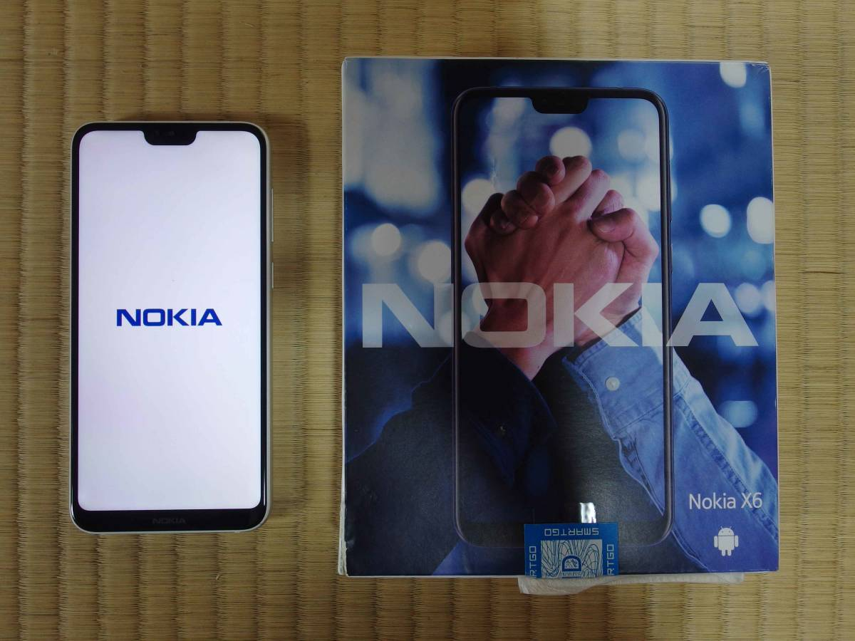 Nokia X6 Android9.0 TA-1083 白 SD636/6G/64G ~充電端子不良 カバーとガラスフィルム付