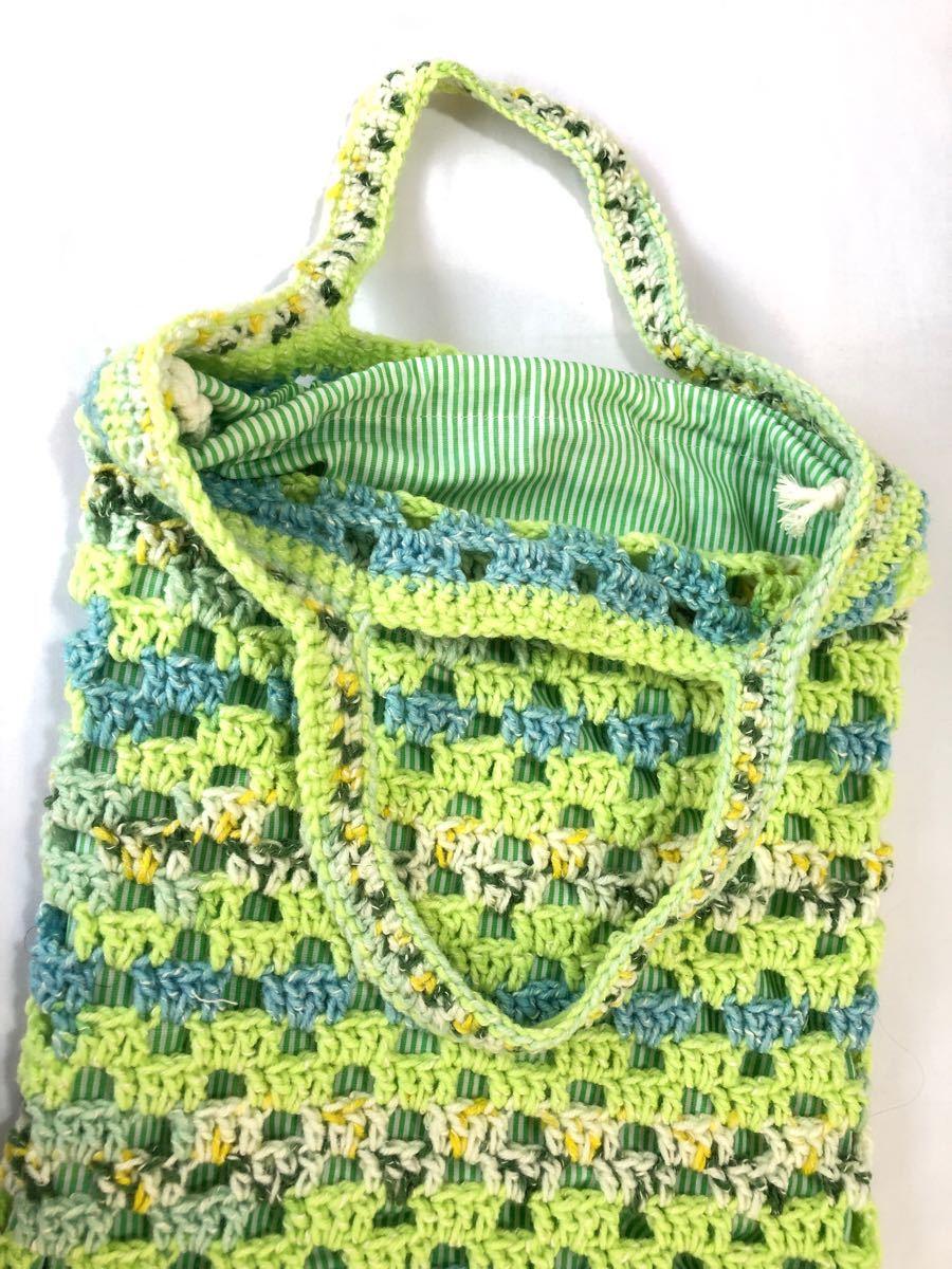 手編みエコバック風手提げバック巾着袋付き D3 ハンドメイド