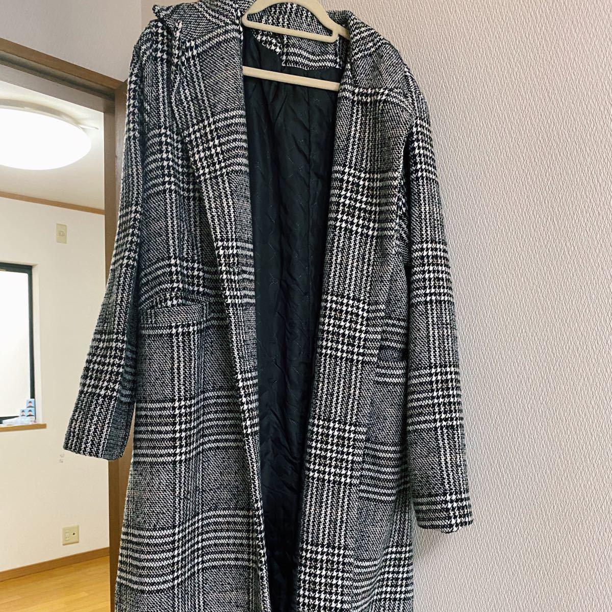ロングコート チェック 白黒