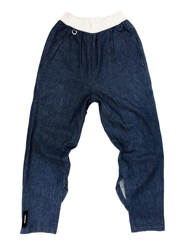 SYU. HOMME FEMM シュウ オム フェム Back curve slit pants by Denim テーパード デニム パンツ 1 ネイビー インディゴ 裾ジップ H19SS-22_画像1