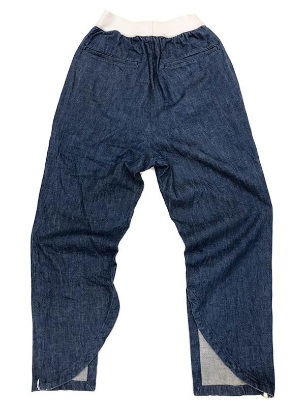 SYU. HOMME FEMM シュウ オム フェム Back curve slit pants by Denim テーパード デニム パンツ 1 ネイビー インディゴ 裾ジップ H19SS-22_画像2