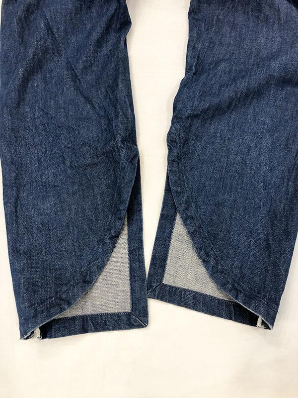SYU. HOMME FEMM シュウ オム フェム Back curve slit pants by Denim テーパード デニム パンツ 1 ネイビー インディゴ 裾ジップ H19SS-22_画像6