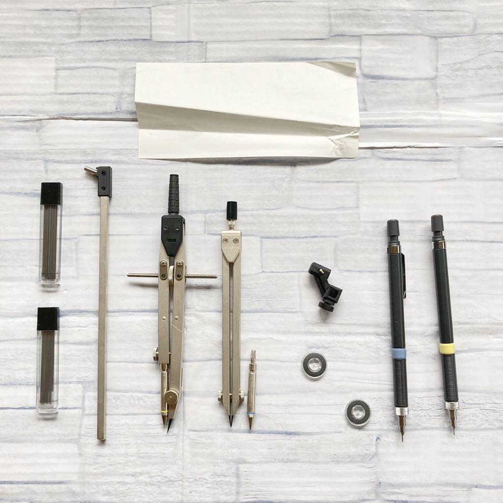 【使用済み】大人気 製図道具セット 雲型定規 テンプレート 工学部 大学 授業 タケダ製図器 シャーペン コンパス 機械 設計 ケース 箱梱包_画像5
