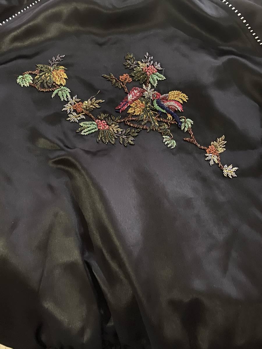 国内正規品 19SS SAINT LAURENT PARIS サンローラン パリ バード オブ パラダイス 刺繍 バーシティ ジャケット スカジャン 44_画像5