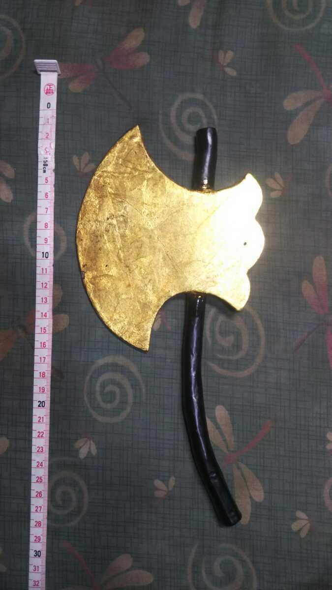 金箔押「鉞」◇マサカリ◇黒柄◆鉄製前立◆_画像1