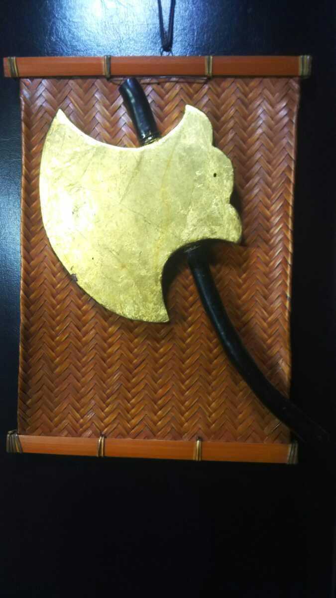 金箔押「鉞」◇マサカリ◇黒柄◆鉄製前立◆_画像8