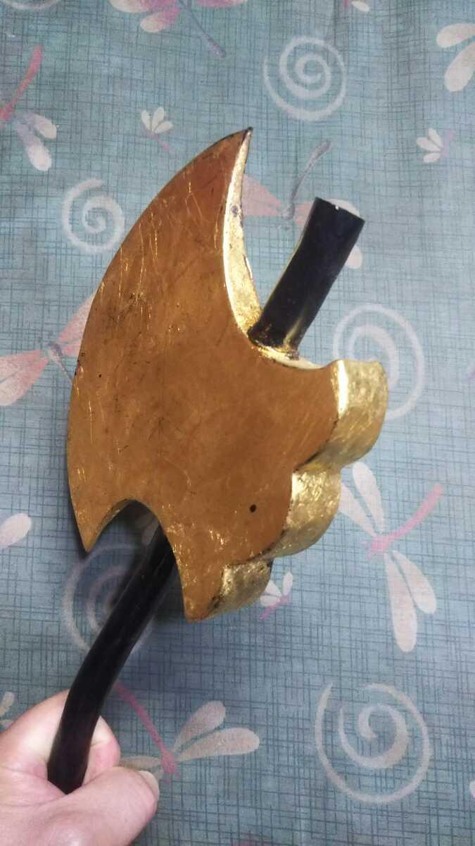 金箔押「鉞」◇マサカリ◇黒柄◆鉄製前立◆_画像7